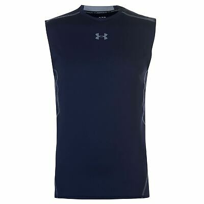 Under Armour HeatGear Baselayer Shirt Mens Navy Football Soccer Compression Top