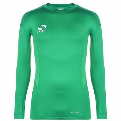 Sondico Core Long Sleeve Baselayer Shirt Mens Green Football Soccer Top