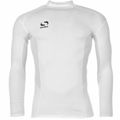 Sondico Mock Neck Baselayer Shirt Mens White Football Soccer Compression Top
