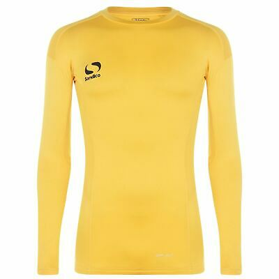 Sondico Core Long Sleeve Baselayer Shirt Mens Yellow Football Soccer Top