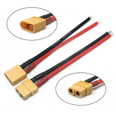 2PCS Of XT60 Battery Male Female Connector Plug with Silicon 14 AWG Wire 100MM