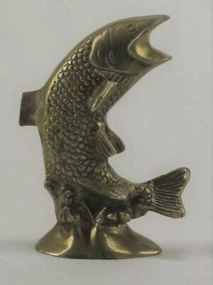 "Vintage Small Brass Leaping Fish 4"" Tall C1"