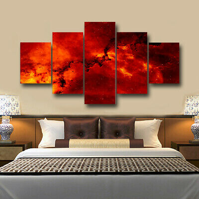 Red Clouds Universe Canvas Print Painting Framed Home Decor Wall Art Picture