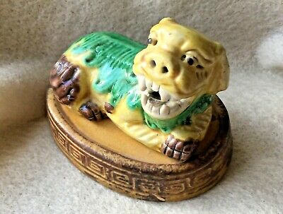Antique Chinese Sancai Glaze Fu Foo Dog Reclining Figurine 19th c Pottery Stand