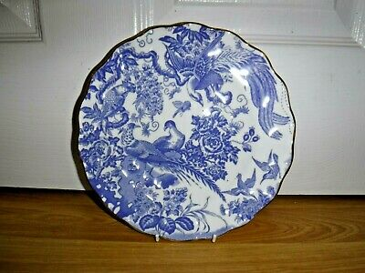 "Royal Crown Derby Blue Aves 8.5"" Wavy Edge Salad Dessert Plate ~ 1st ~ Excellent"
