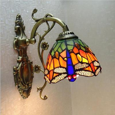Vintage Tiffany Style Stained Glass Wall Sconce Dragonfly Wall Lamp Fixture