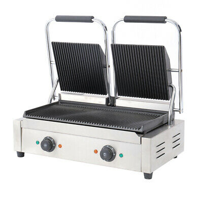 Commercial Panini Grill Press Double Dualit Ribbed Top Sandwich Toaster Maker UK