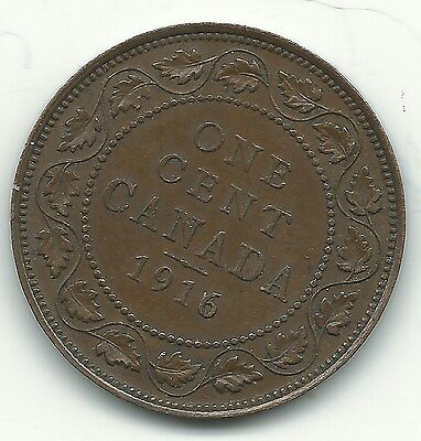 Very Nice High Grade Details 1916 Canadian Large One Cent-Mar616