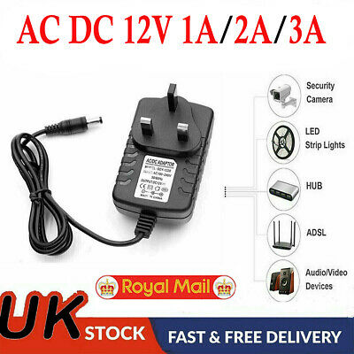 12V 1A AC to DC Adapter Charger Power Supply LED Light Camera CCTV UK Plug New