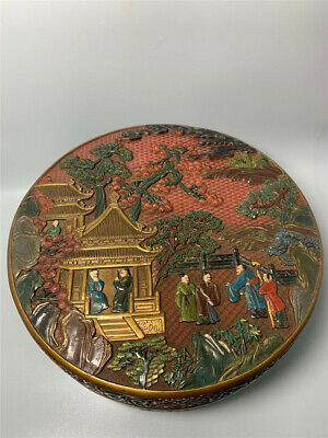 "12.99""  Chinese Exquisite lacquerware gilt painted landscape people Jewelry Box"
