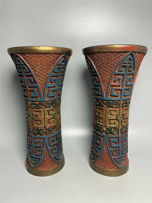 "8.50"" Chinese Exquisite lacquerware gilt painted Handmade vase A pair"