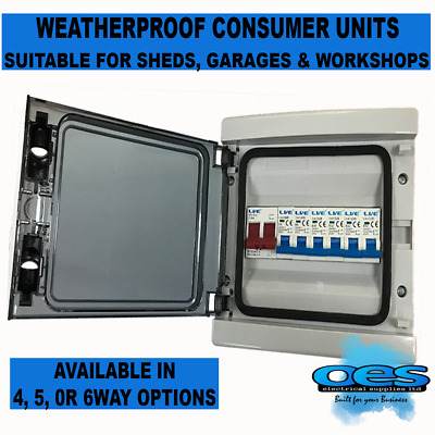 Consumer Unit Weatherproof Up To 6 Way 100 Amp Switch Shed Garage Choice Of Mcb