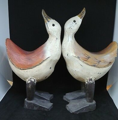 """James Haddon Hand Carved Hand Painted Wood Ducks 13"""" tall Set of 2"""