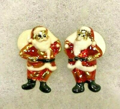 Santa Claus with Bag Enamel and Gold Tone Stud Earrings Approx. 7/8 Inch Tall