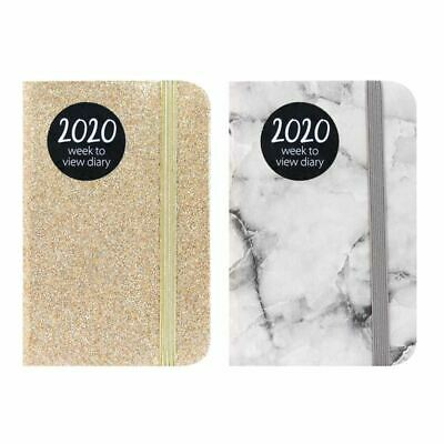 2020 Week to View Marble/Glitter/Metallic Texture Pocket Diary A7 WTV