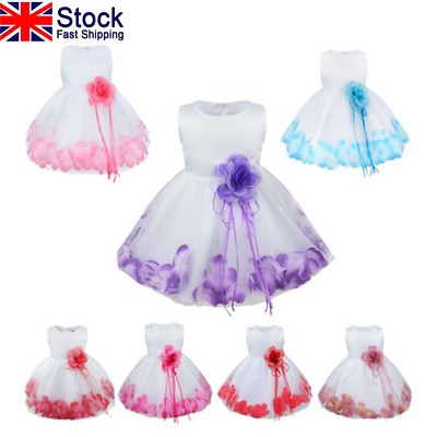 UK Toddlers Kid Birthday Dress Flower Petals Wedding Party Bridesmaid Gown Cloth