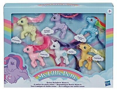 "My Little Pony RETRO RAINBOW MANE 6 1980s-Inspired Collectable Figures 3"" toys"
