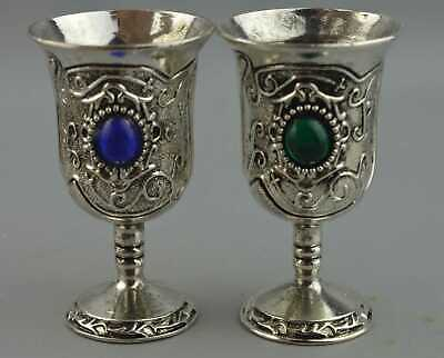 China Collectable Decor Miao Silver Carve Flower Inlay Agate One Pair Wine Cup