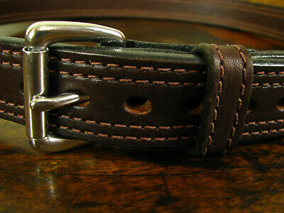 """Mens THICK Dbl Stitched Bullhide Gun Belt 1 1/4"""" Wide Fits 33-35"""" Made in USA"""