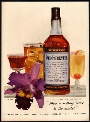 1947 OLD FORESTER Whiskey - Alcohol - Cherry - Mixed Drinks - Retro VINTAGE AD