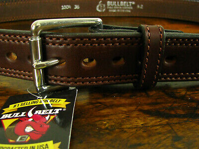 """Mens THICK Brown Double Stitched Bullhide Gun Belt 1.5"""" Wide Fits 40-43"""" USA"""
