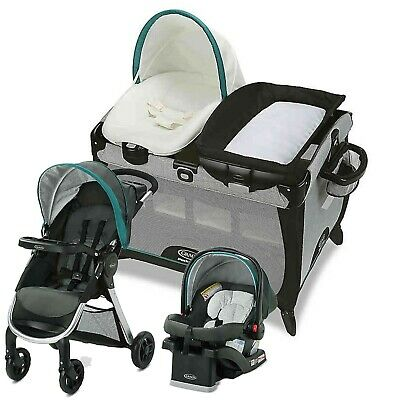 Graco Baby Stroller Car Seat Travel System with Playard Crib Boys Girls Combo