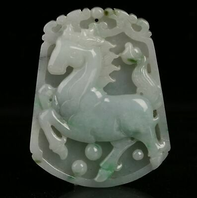 Certified untreated Green Natural Grade A Jade jadeite Pendant horse 马 r01853251