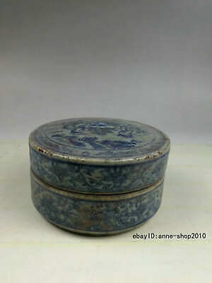 Antique Old Chinese Dynasty Blue and white Porcelain Pottery Rouge box ATTV