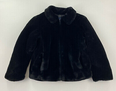GAP - Girls Size XL - Black Faux Fur Acrylic/Polyester Insulated Coat