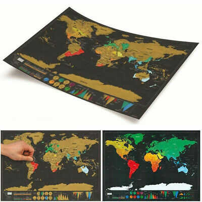 Erase Deluxe Travel Black World Map For World Map 1pcs Personalized Scratch
