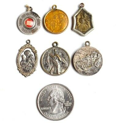 † (6) Vintage CATHOLIC CHRISTIAN RELIGIOUS MEDALS & Relic Mixed Metals Lot †