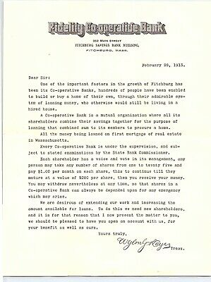1913 FIDELITY COOPERATIVE BANK LETTER fitchburg mass BANKING ACCOUNT REQUEST