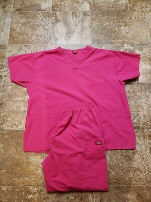 Women's Dickies Stretch Scrub Pants Top Set pink size top xl pants xl petite