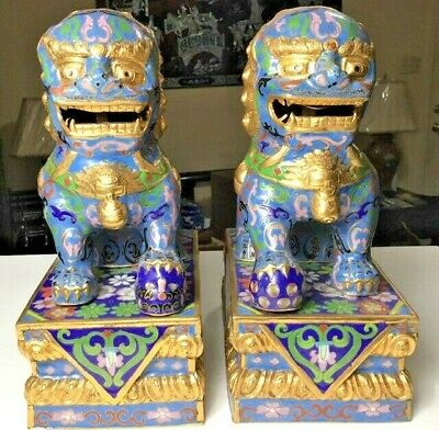 Vintage Chinese Cloisonne Hand Painted Blue & Gold Foo Dog Pair (RARE)