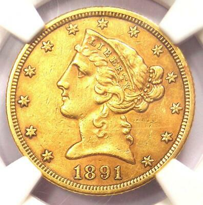 1891-CC Liberty Gold Half Eagle $5 Coin - NGC XF Details - Rare Carson City!