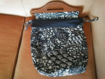 Vintage Handmade Sewing Bag Knitting Carry-all wood handles blue & white lined
