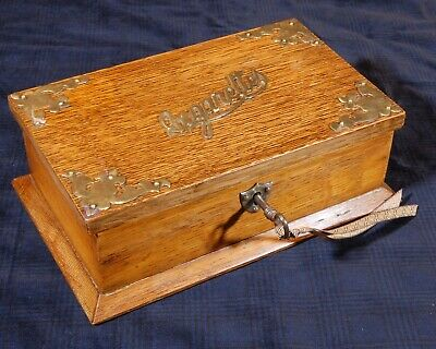 Antique cigarettes solid oak wooden box with lock and key. R760008