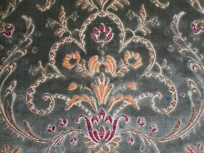 Vintage French Brocaded  Cartouche Cut Velvet Fabric ~ Gray Tangerine Red Yellow