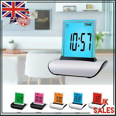 7 Colour Changing LED Digital Alarm LCD Clock Snooze Home Table Desk Decor Gift