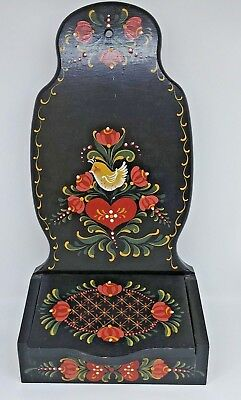 """Vintage Wood 15"""" Wall Recipe Box Black Tole Hand Painted"""