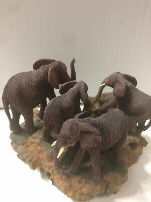 Group of Four Elephants. Antique Vintage Hand Carved Wooden Elephants19cmx 13cm