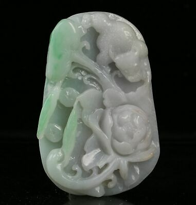 Certified untreated Green Natural Grade A Jade jadeite Pendant flower r01562261