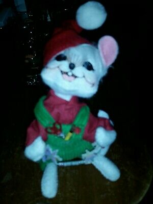 """Annalee 2009 6"""" Christmas Workshop Mouse Painting Wooden Boat~ Bow Tie NEW wTag"""
