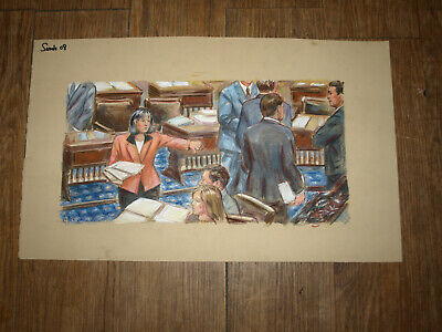 "US Senate In Session Original Art Courtroom Sketch Style 13""x23"""