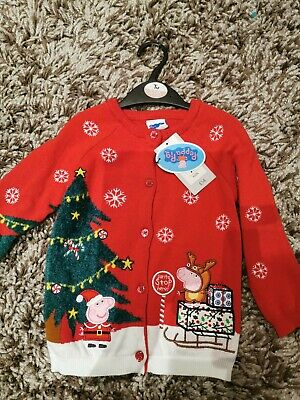 Peppa Pig Christmas cardigan girls 2-3 jumper TU