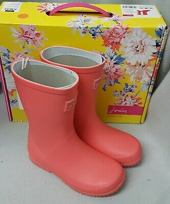 Joules Junior Welly Roll Up Bright Coral Wellingtons Wellies Box Child Size 11