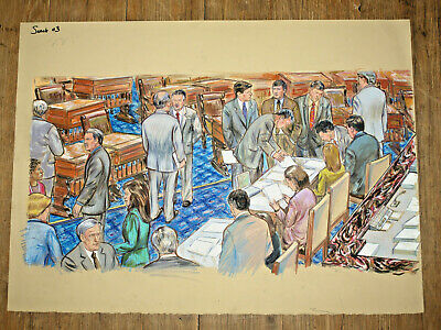 "US Senate In Session Original Art Courtroom Sketch Style 22""x30"""