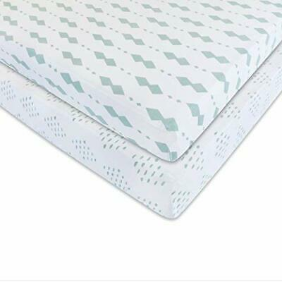 Crib Sheet Set 2 Pack 100% Jersey Cotton for Baby Girl and Baby Boy - Sage Di...