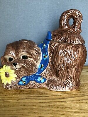 Eliza Jane Maltese Dog Cookie Jar VTG! Puppy Brown Yellow Daisy Bees -Sweet!!