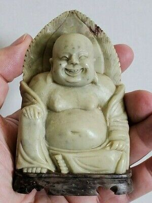 Chinese Antique Hand Carved Stone Happy Buddha Statue On Marble Stand Tao Jade
